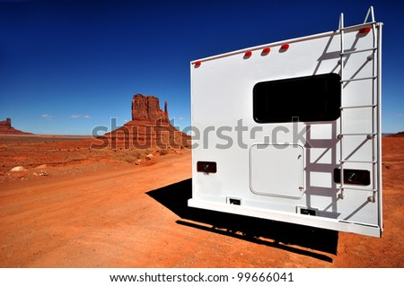 White RV at Monument Valley