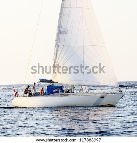 white sail yachts sailing. Riga, Latvia