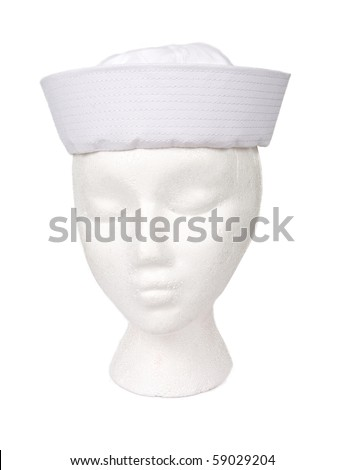 White sailor hat isolated on white. Resting on a model head for proper perspective. Contains a clipping path for easy extraction.