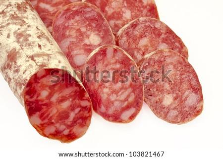 white salami sausage on white background