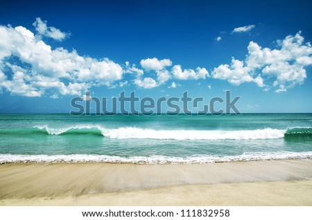 White sand beach and blue sky.