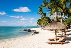 White sand beach and palm trees in Mauritius Island. Ile Maurice.