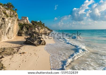 Shutterstock White sand beach and ruins of Tulum, Yuacatan, Mexico