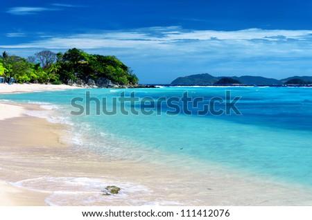 White sand beach. Malcapuya island, Coron, Philippines.
