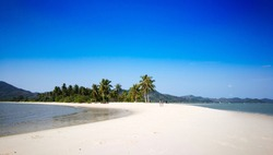 White sand beach on blue sky day at Laem Haad , Koh Yao Yai , Phang-nga , Thailand
