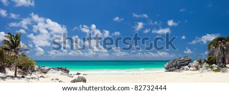 White sand Caribbean beach near Tulum ruins in Mexico