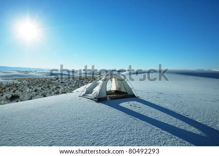 White sand in Mexico - stock photo