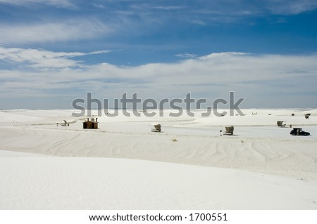 White Sands National  Parks scenic view with the shelters, New Mexico, USA