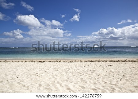 White sandy beach on Mauritius island