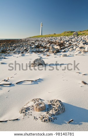 White sandy beach with lighthouse in the background.