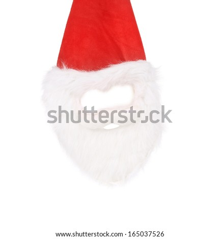 White santa's beard and mask. Isolated on a white background.