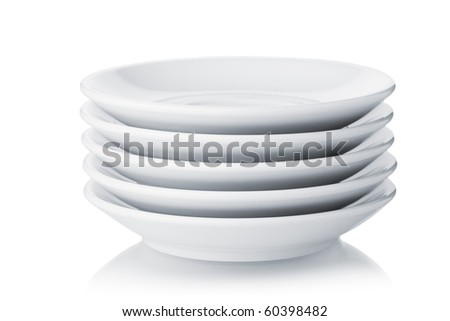 White saucers. Isolated on white background