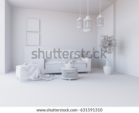 white scandinavian room interior with furniture. 3d illustration #631591310