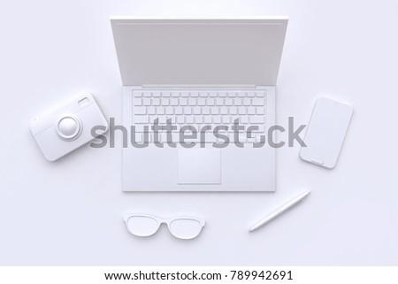 white scene abstract laptop camera glasses pen smart phone 3d rendering technology concept