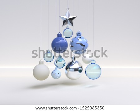 white scene wall floor blue christmas objects decoration 3d rendering
