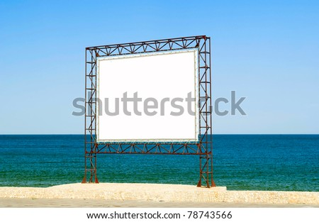 white screen on a background of blue sea and sky