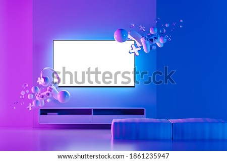 White screen TV hanging on the wall in the room. Game console, headphones, gamepad, game joystick hang in the air. Video games concept, game presentation. Neon light. Mock up. 3d rendering