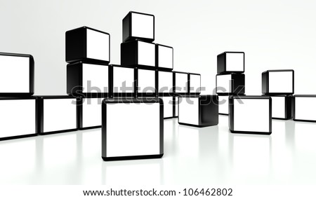White screen video wall of many cubes on white background