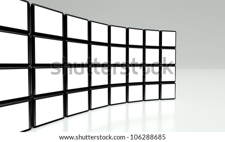 White screen wall of many cubes on white background