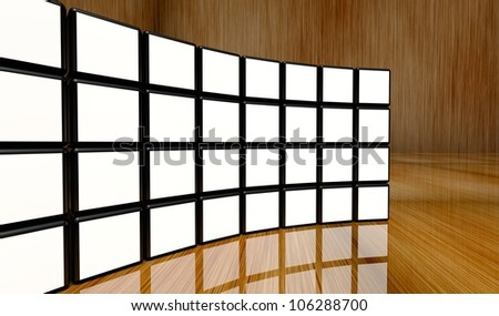 White screen wall of many cubes on wooden background