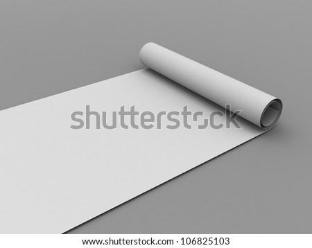 White scroll paper. 3d render