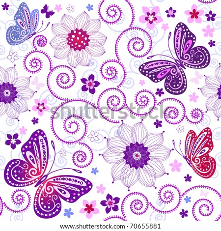 White seamless floral pattern with flowers and butterflies
