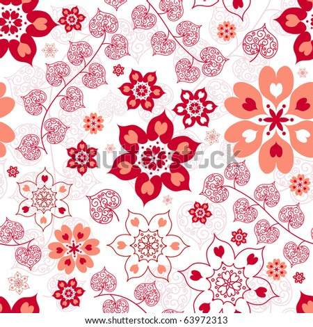 White seamless floral valentine pattern with hearts