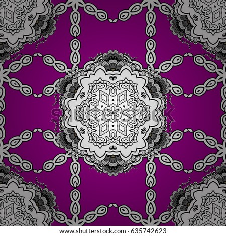 White seamless pattern. Flat hand drawn vintage collection. Pattern on magenta background with white elements. Backdrop, fabric, white wallpaper. #635742623