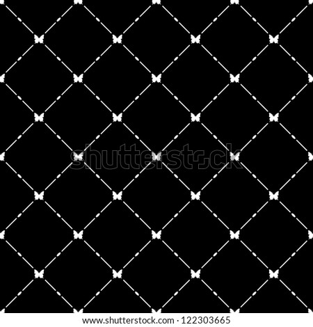White seamless pattern with butterfly symbol on black, bitmap copy.