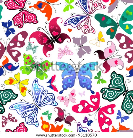 White seamless valentine pattern with colorful butterflies and hearts