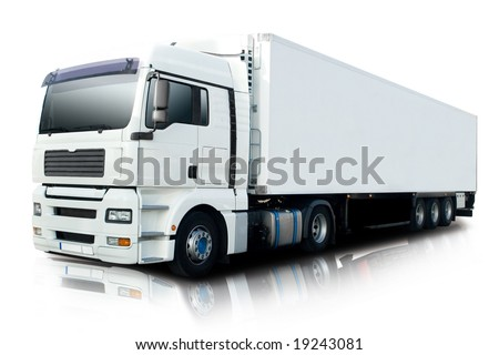 White Semi Truck - stock photo