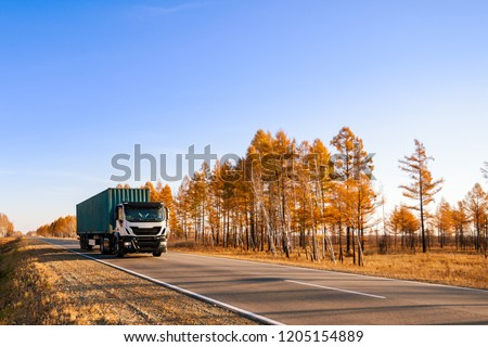 White semi-truck with container on autumn road