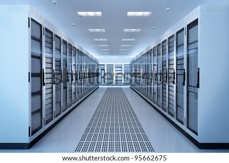 White Server Room Network/communications server cluster in a server room. CG Image. Foto stock ©