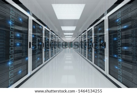 White servers data center room with computers and storage systems 3D rendering