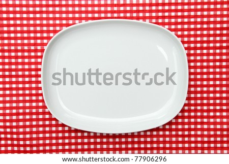 White Serving Platter Plate on red and white checkered background