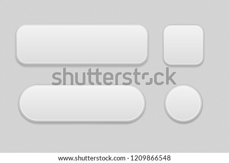 White set of buttons on gray background. Oval, round and square web 3d icons. Illustration. Raster version #1209866548