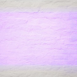 White shabby brick wall background with glowing purple neon spot light, old stone brickwork plaster texture, grunge clean stucco wall