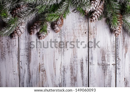 White shabby Christmas border with snow covered pinecones #149060093