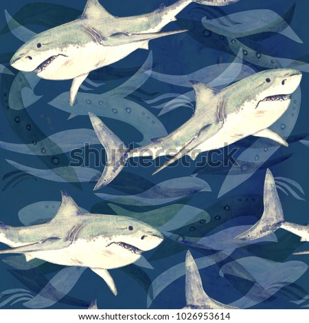 Stock Photo White shark, hand painted watercolor illustration, seamless pattern on dark blue ocean surface with waves background