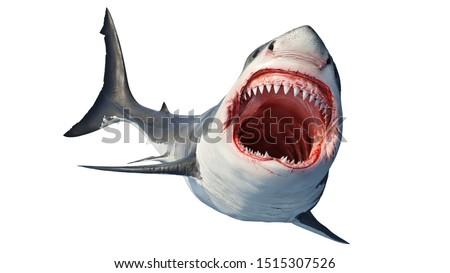 White shark marine predator big open mouth and teeth. 3D rendering Foto d'archivio ©