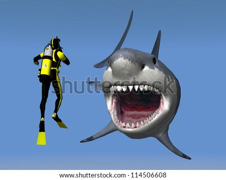 White Shark with Diver Computer generated 3D illustration