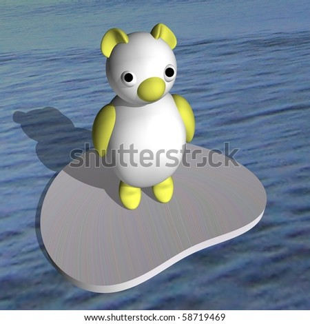 White she-bear on an ice floe in the sea, 3d.