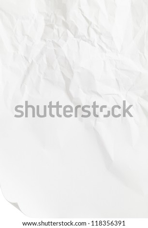 white sheet of paper folded and battered. With texture. Path included.