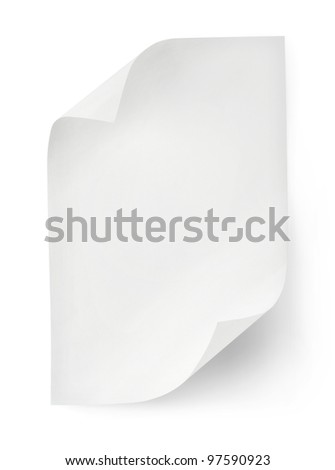 White sheet of paper isolated on white background. Clipping path