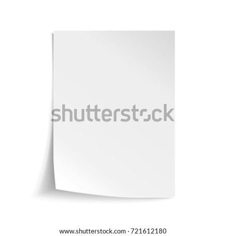 White sheet of paper. Realistic empty paper note template of A4 format with soft shadows isolated on white background