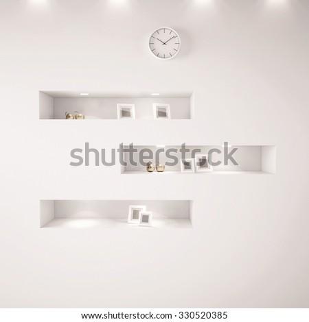 White shelfs with lights, clock, empty photos. 3d render Photo stock ©