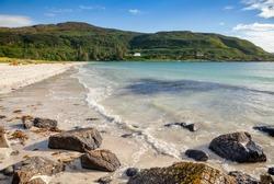 White shell sand beach of Calgary Bay, Isle of Mull, Argyll and Bute, Scotland, UK