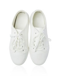 White shoe on white isolated background with clipping path.