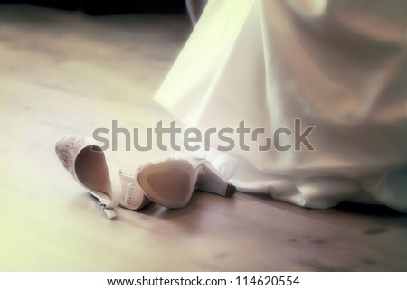 white shoes and wedding dress background - stock photo