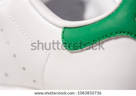 White shoes velcro trainers macro blurred background